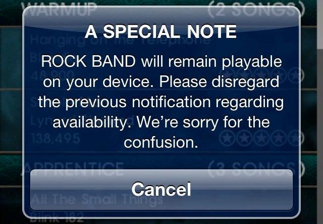 EA Backtracks On Shutting Down Rock Band Mobile
