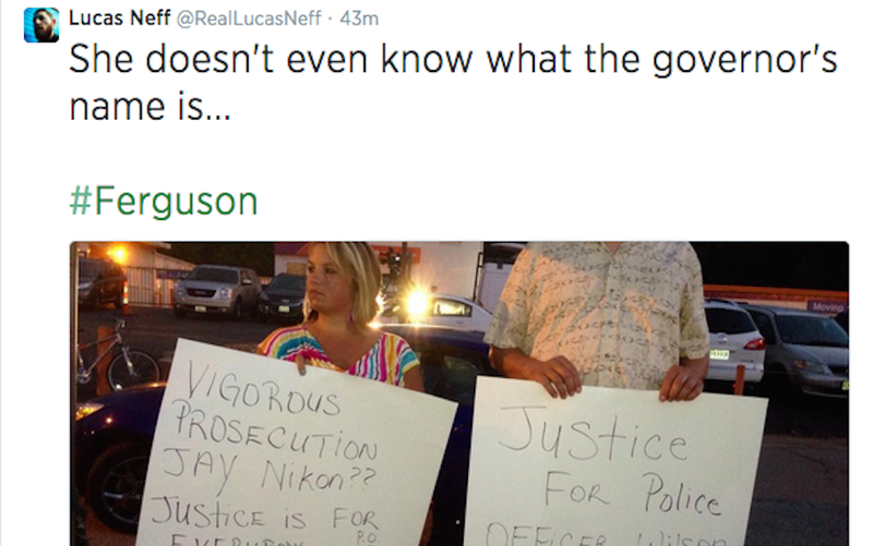 Two White People Show Up at Ferguson Protests to Support Darren Wilson