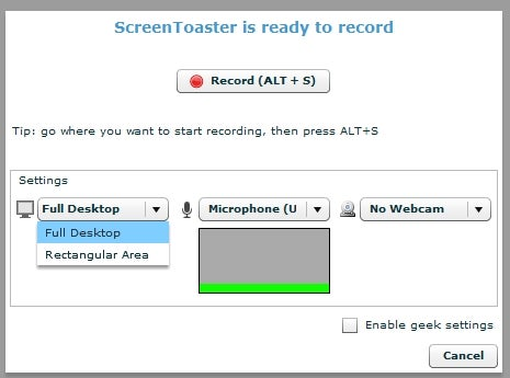 ScreenToaster Records Screencasts and Audio, No Software Required