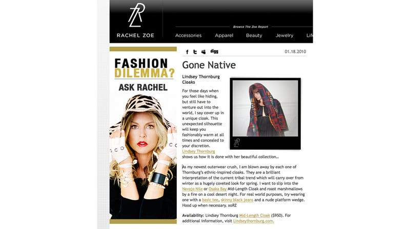 "Rachel Zoe Pronounces ""Tribal Trend"" So Hot Right Now"