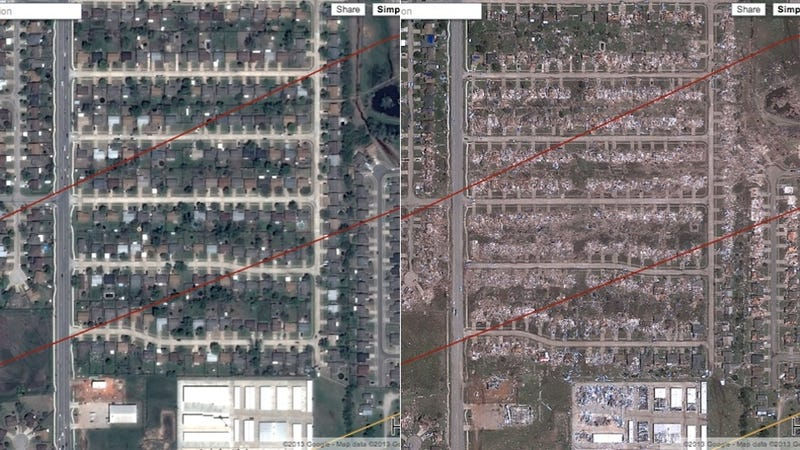 The Destruction of the Oklahoma Tornado As Seen by Google Maps
