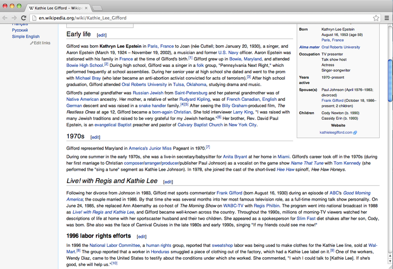 Wikipedia Entries to Use When Flirting: Vol. 1: Kathie Lee Gifford