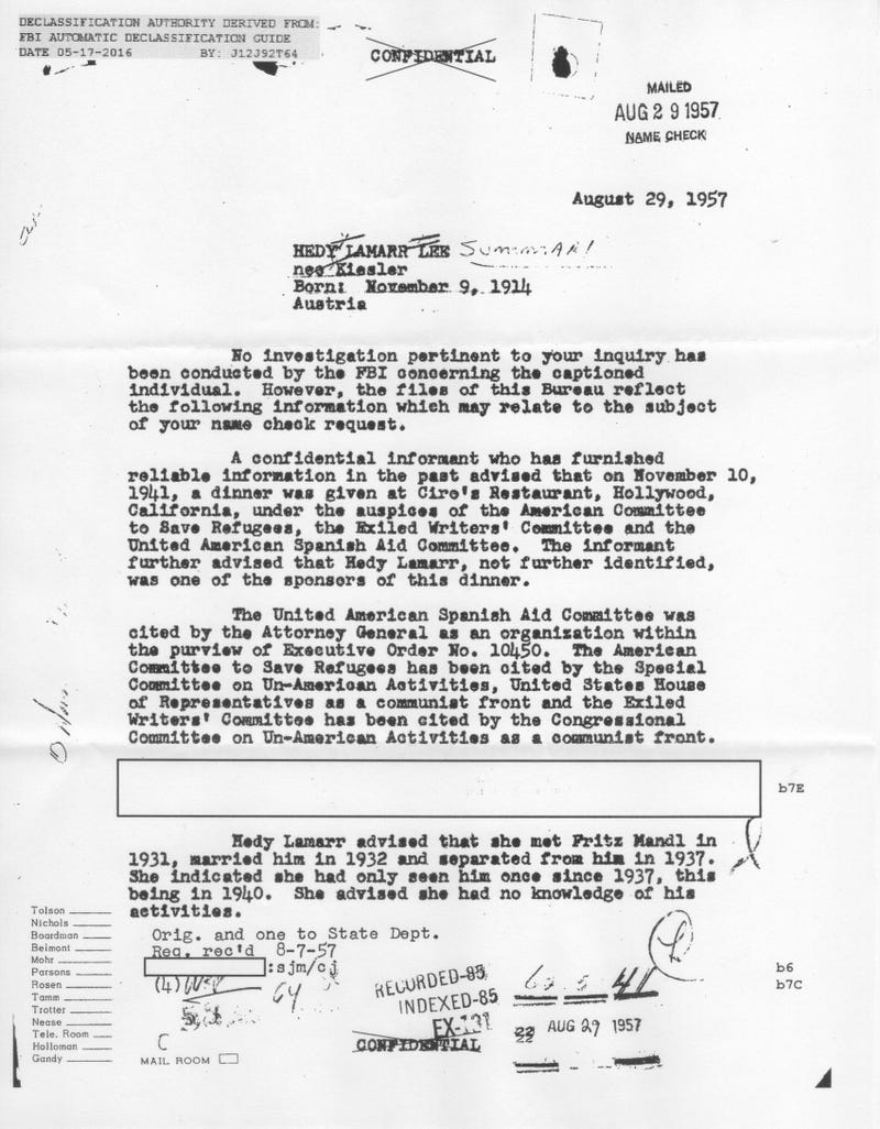 Hedy Lamarr's FBI File Is Shockingly Slim