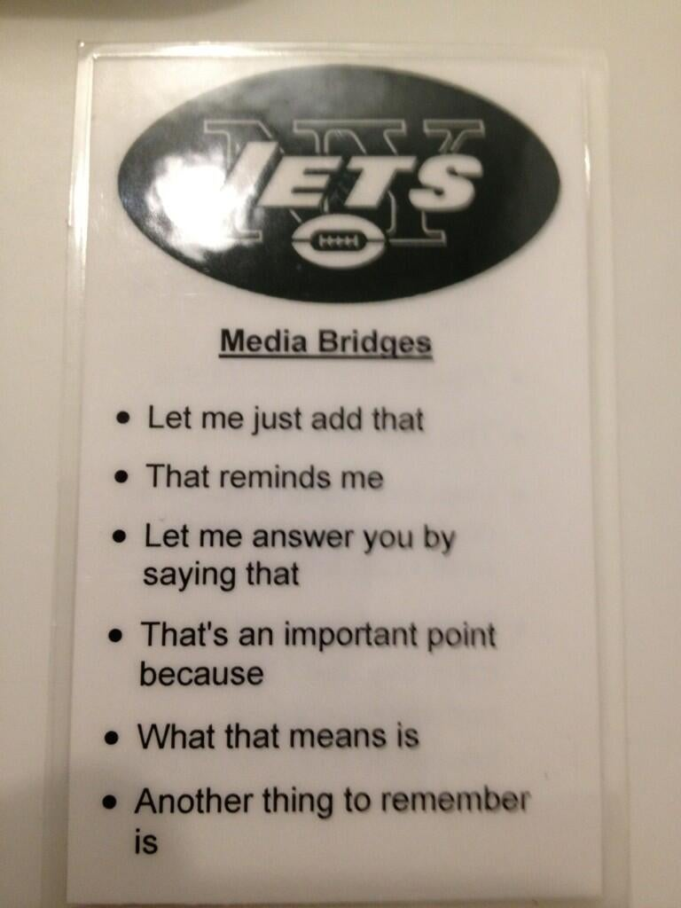 Here's How The Jets Train Their Players To Be Boring With The Media