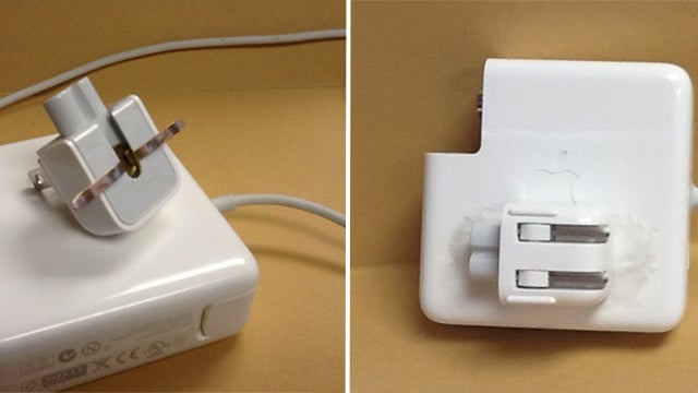 Keep an Apple Power Supply's Detachable Plug Handy with Sugru and a Paper Fastener