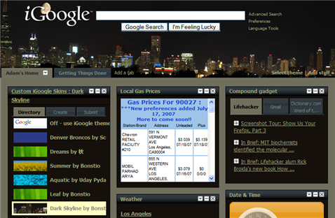 Customize your homepage with iGoogle Skins gadget