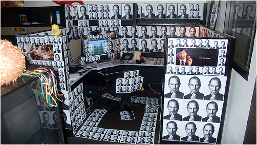 When Coworkers' Pranks Get Scary: Guy's Desk Gets Plastered by Big Brother Steve Jobs