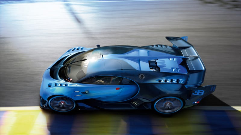 'Bugatti Vision Gran Turismo Concept: The Future Of Bugatti Looks Terrifyingly Awesome' from the web at 'http://i.kinja-img.com/gawker-media/image/upload/s--X0r1LnZi--/c_scale,fl_progressive,q_80,w_800/1430362452956671016.jpg'