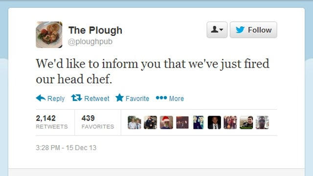 Fired Chef Seizes Restaurant's Twitter Account to Tell His Side