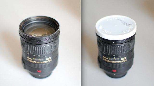 Use a Nutella Lid as a Nikon Lens Cap