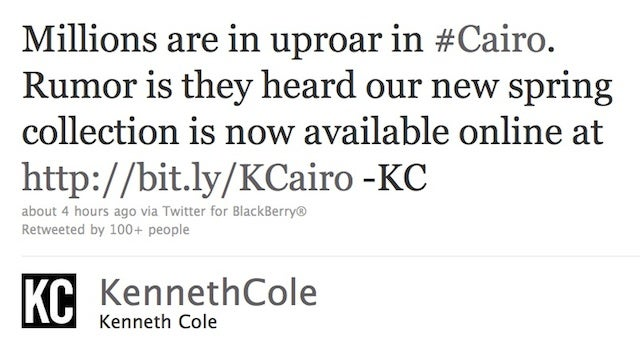 Kenneth Cole Uses Egypt Crisis As Opportunity To Plug New Line