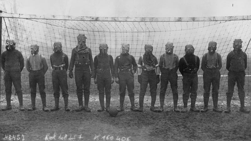 Time now for some gas mask soccer