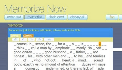 """Memorize Now"" Helps You Commit Long Passages to Memory"