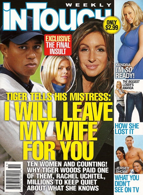 This Week In Tabloids: Angie & Brad Help Jen Adopt; Tiger's Titillating Texts