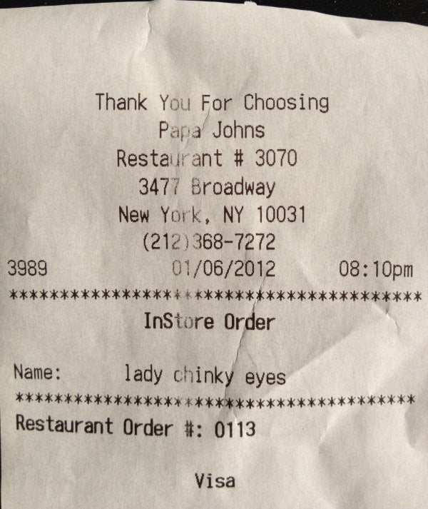 Papa John's Employee Unwisely Decides to Call Customer 'Lady Chinky Eyes'