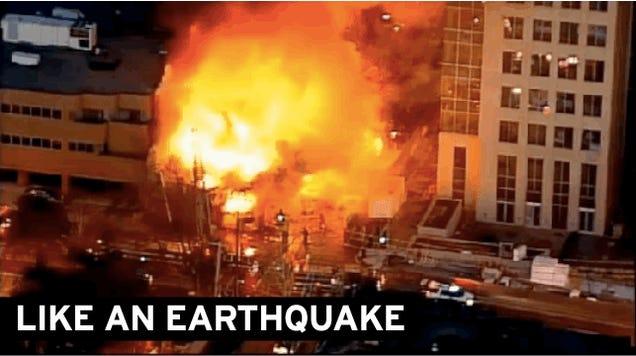 Restaurant Explodes in Street Inferno, Injuring 16