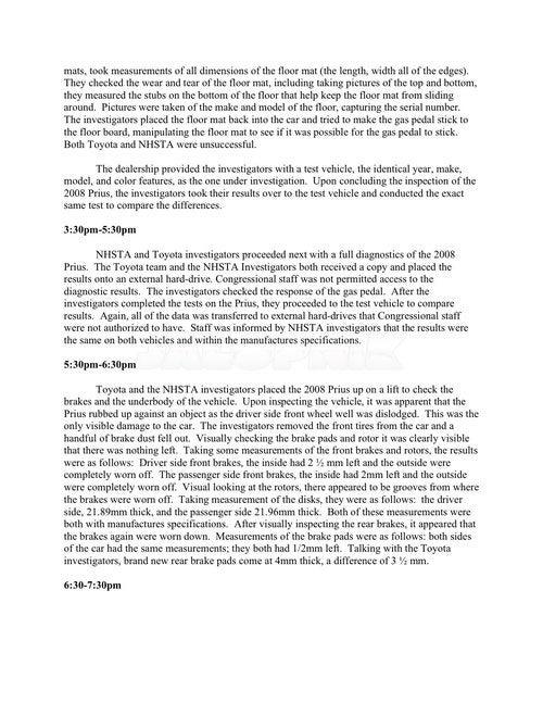 Runaway Prius Memo: Oversight Draft Document