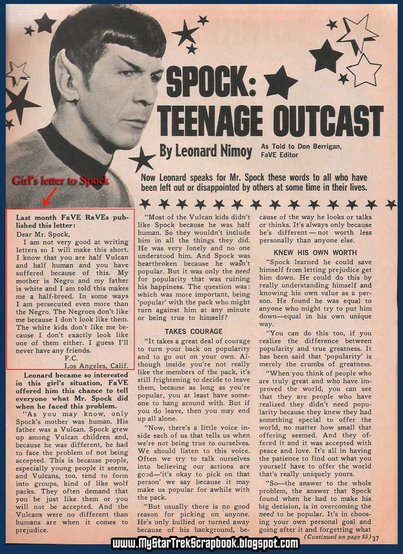 Your Morning Cry: Leonard Nimoy's Touching 1968 Advice Column Answers Teen Biracial Girl