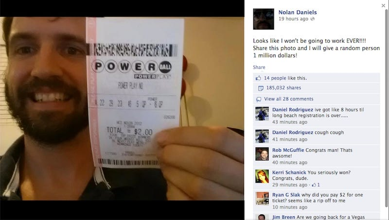 Fake Winning Powerball Ticket Goes Viral on Facebook Proving Once Again That Facebook Users Will Share Anything