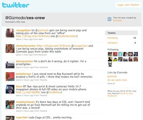Follow the Gizmodo CES Crew Twitter List, See Through Our Eyes Tweets