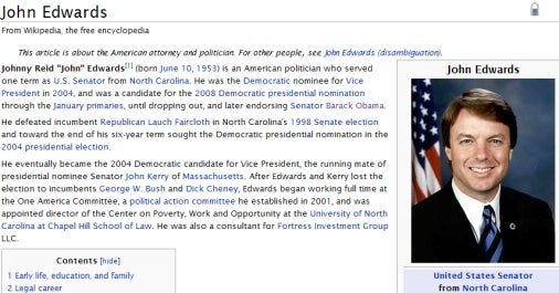 John Edwards' Wikipedia Page Strangely Love Child-Free