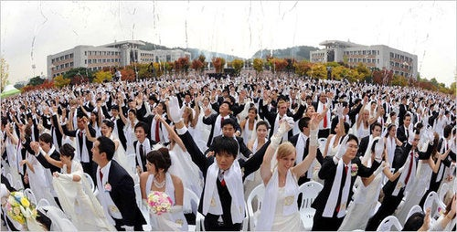 Moon's Last Mass Wedding a Success, Moonie Times Says
