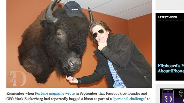 Mark Zuckerberg Shows Off the Bison He Shot