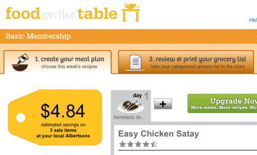 Food on the Table Builds Menus and Grocery Lists Based on Your Family's Preferences