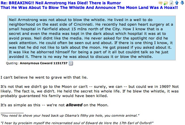 'Neil Armstrong - LYING PIECE OF MASON SH*T: Good RIDDANCE': Moon Truthers Mourn a Legend