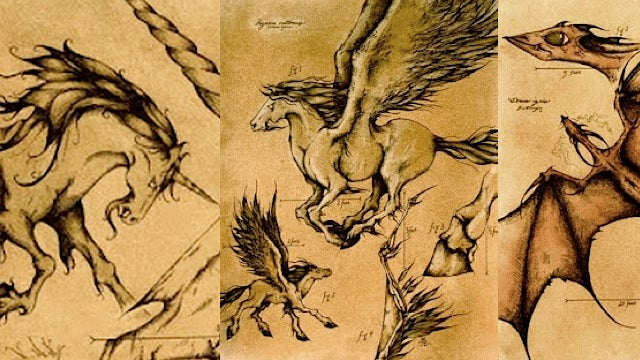Mythological beasts, drawn in the style of old biology textbooks