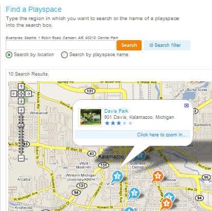KaBOOM! PlaySpaceFinder Locates Parks, Playgrounds, and Sports Fields