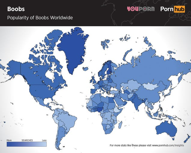 Maps show which body parts in porn are the most popular across the world