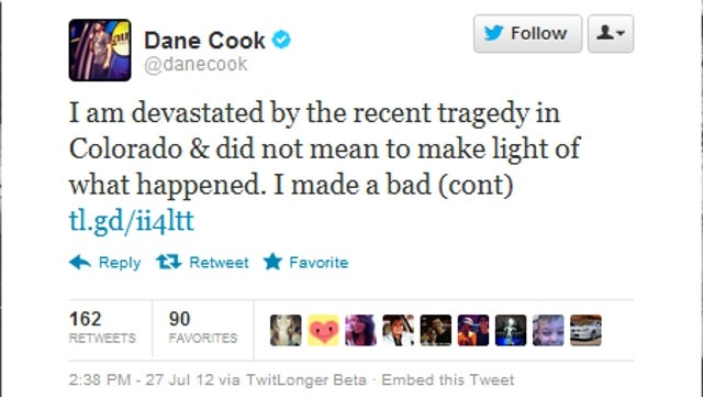Dane Cook Says He's Sorry for Making Light of Aurora Theater Shooting with Terrible Joke