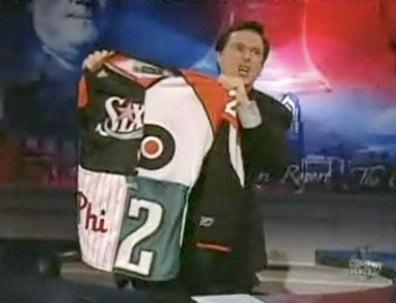 Stephen Colbert Unveils Latest In Philadelphia Sporting Attire
