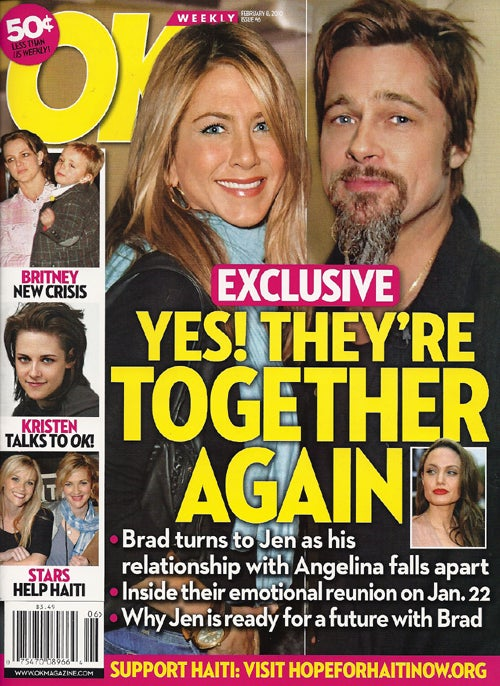 "This Week In Tabloids: Brad & Angie Sorta But Not Really Over; Depressed Britney Looks Like A ""Bum"""