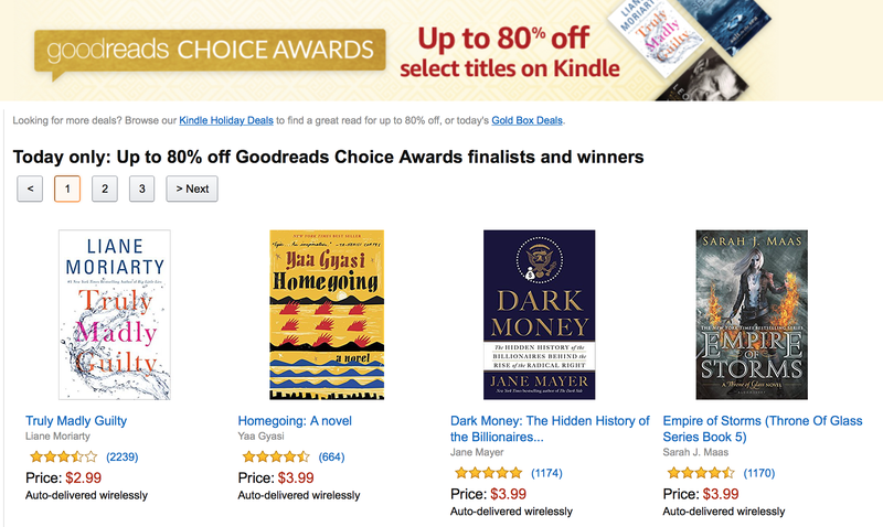 Amazons running another one day kindle sale with over 40 titles to goodreads choice awards kindle sale fandeluxe