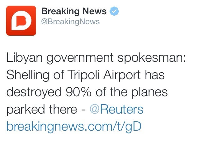 90 Percent Of Planes Parked At Tripoli Airport Destroyed By Militias