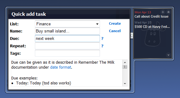 I Forgot The Milk Puts Remember the Milk in Your Vista Sidebar