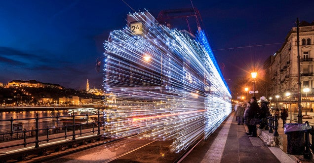 Magic Budapest trams jumping into hyperspace