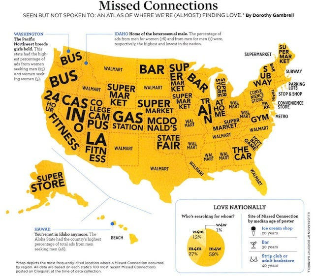 This Map of the United States of America Shows Where the Most Craigslist Missed Connections Happen in Each State
