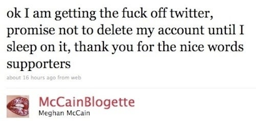 Meghan McCain Swears She'll Quit Twitter If You Can't Deal With Her Boobs