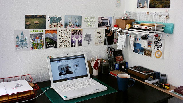 Wire Baskets and Postcards: Making White Walls Work