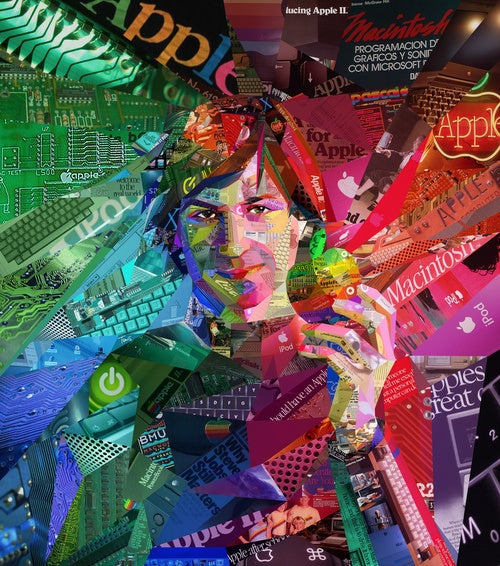 Psychedelic Steve Jobs Made of Old Apple Ads