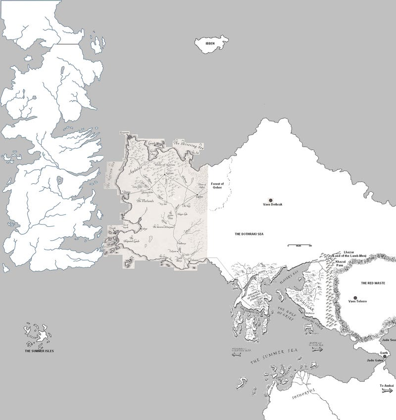 A speculative world map for A Song of Ice and Fire