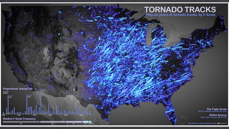 Six decades of U.S. tornadoes visualized in one stunning map