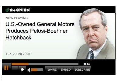 Onion: US-Owned GM Produces Pelosi-Boehner Hatchback
