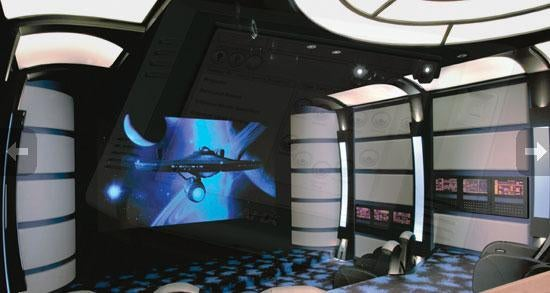 Ultimate Star Trek home theater plays movies on a Starfleet bridge