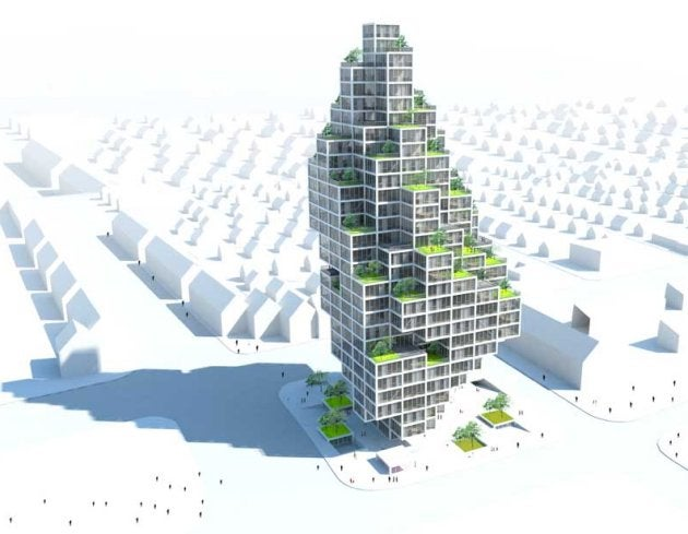 "Sky Village ""Pixel Tower"" is Sustainable, Adaptable and Really Weird Looking"