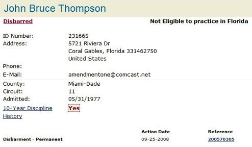 Jack Thompson Now Officially Disbarred