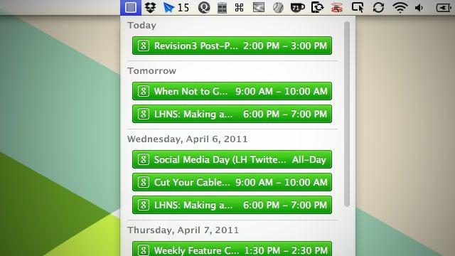 CalendarBar Keeps Your iCal and Google Calendars in Your OS X Menubar